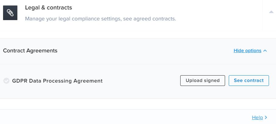 Legal & contracts در افزونه Crisp